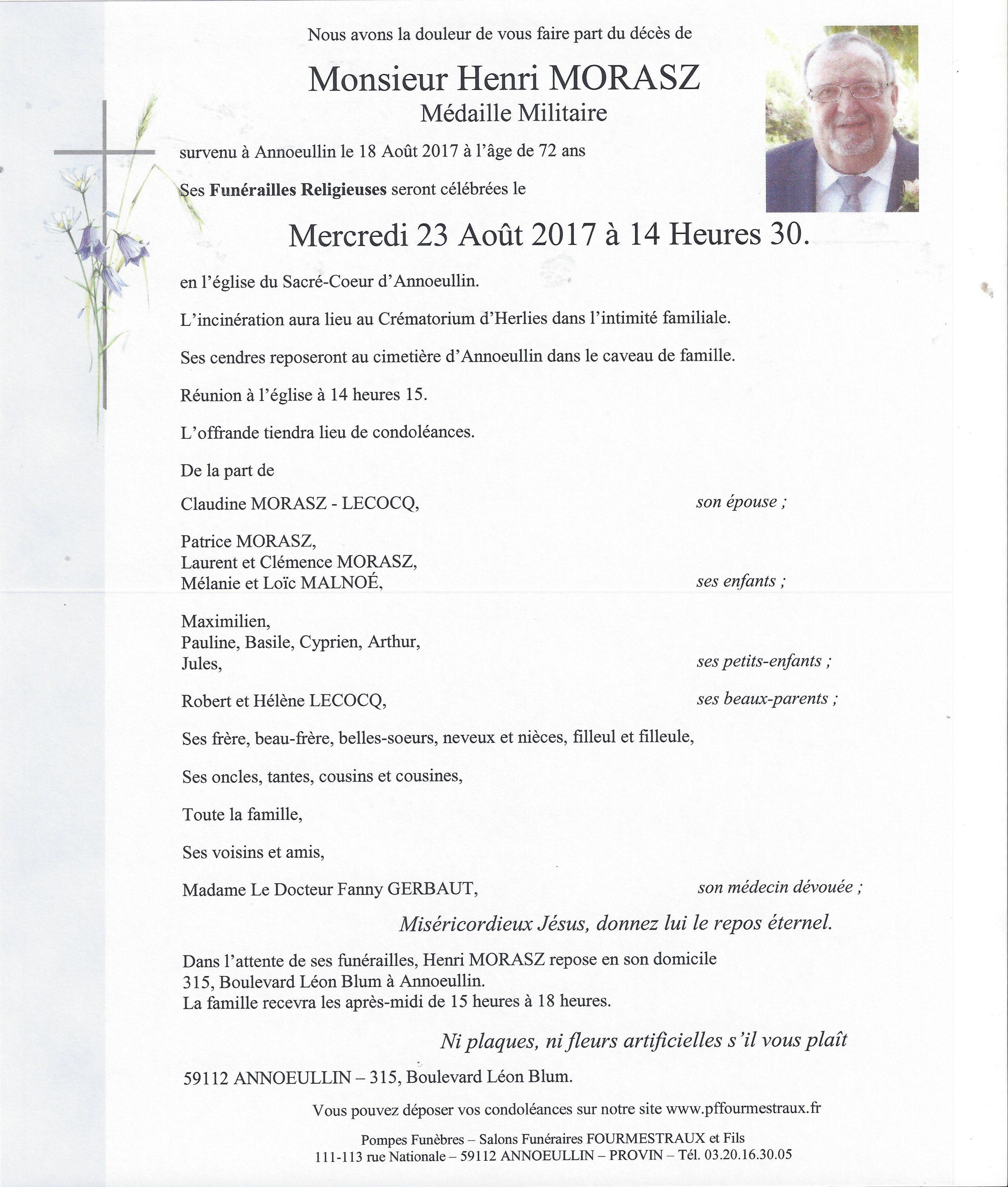 Décès de Henri MORASZ P37 1