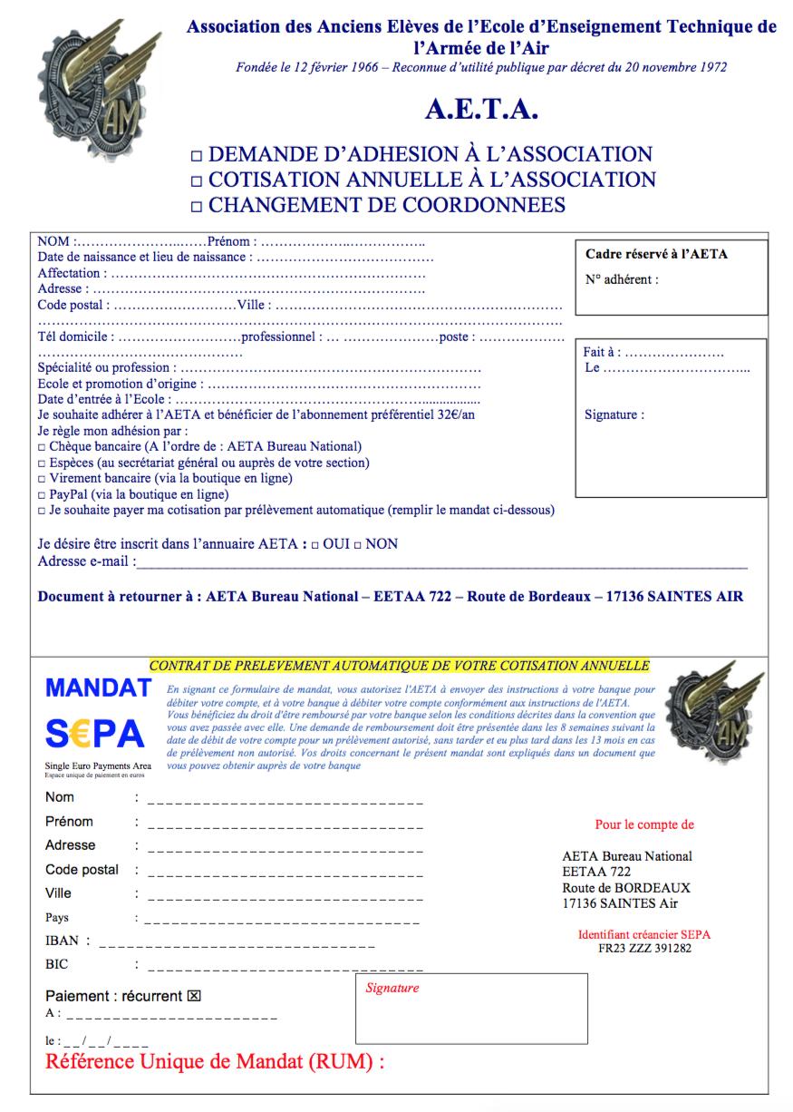 Adhésion à l'AETA 1