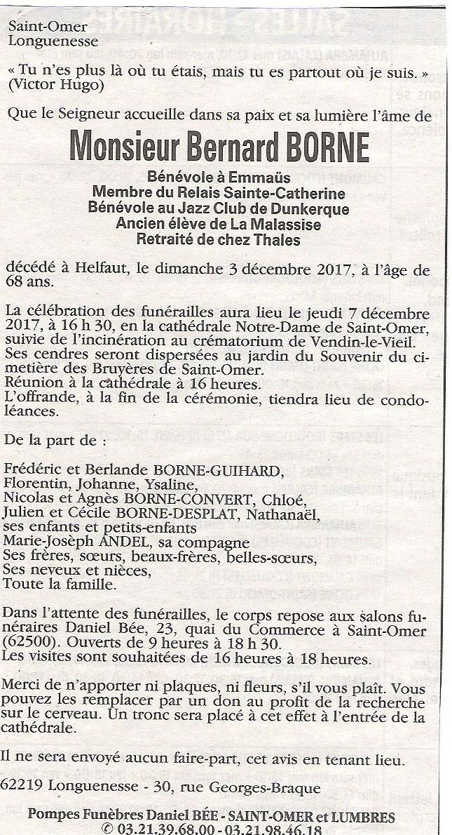 Décès de Bernard BORNE (P51) 1