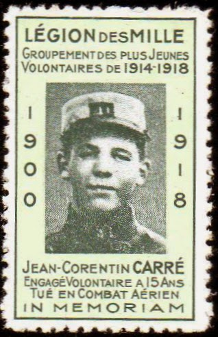 Hommage au plus jeune Poilu de France Jean Corentin Carré mort en combat aérien