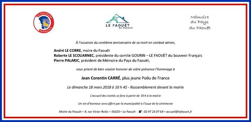 Hommage au plus jeune Poilu de France Jean Corentin Carré mort en combat aérien 2