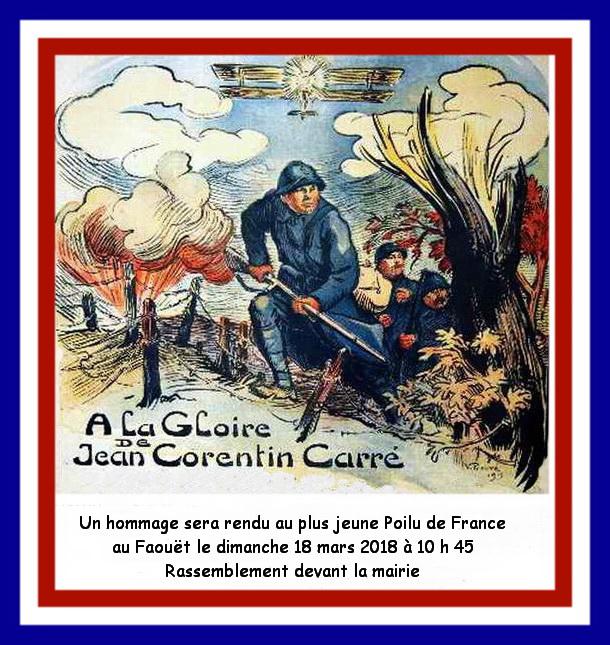 Hommage au plus jeune Poilu de France Jean Corentin Carré mort en combat aérien 1