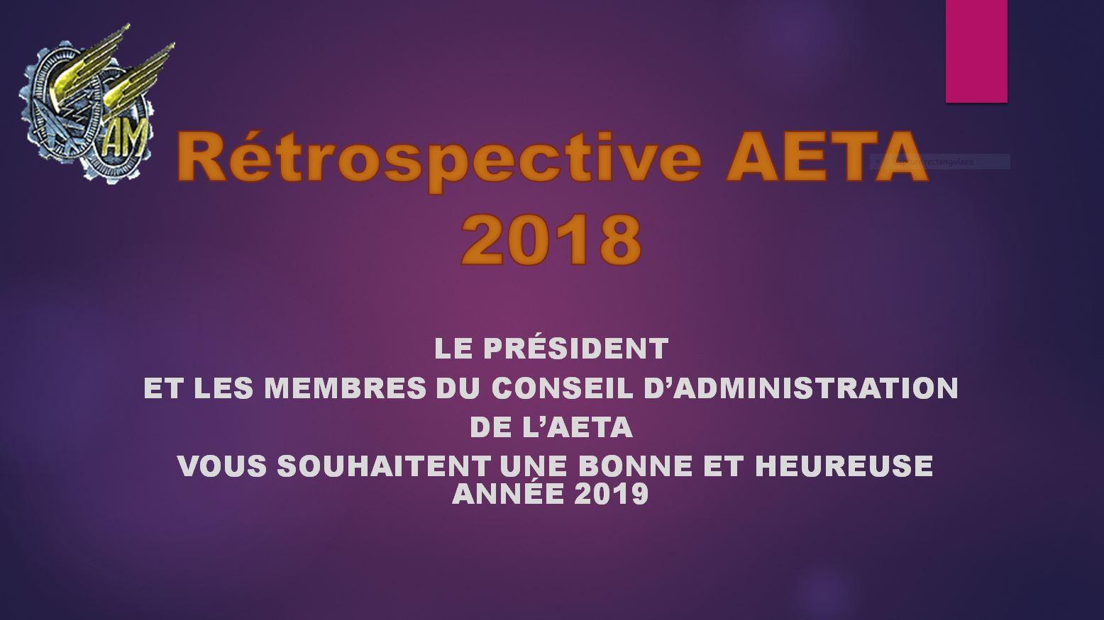 DIAPORAMA DE LA RÉTROSPECTIVE DES MOMENTS FORTS DE L'AETA 2018