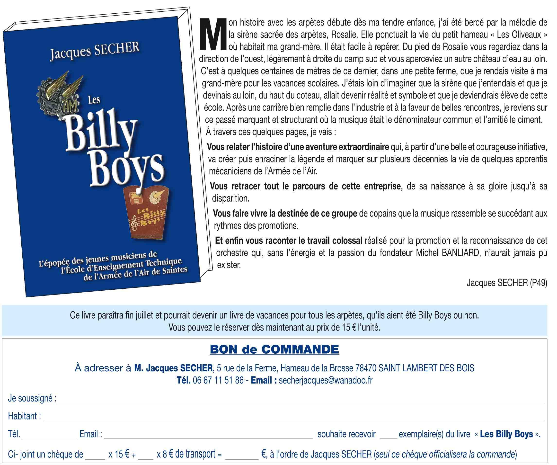 NOUVELLE SOUSCRIPTION POUR LE LIVRE DES BILLY BOYS 1
