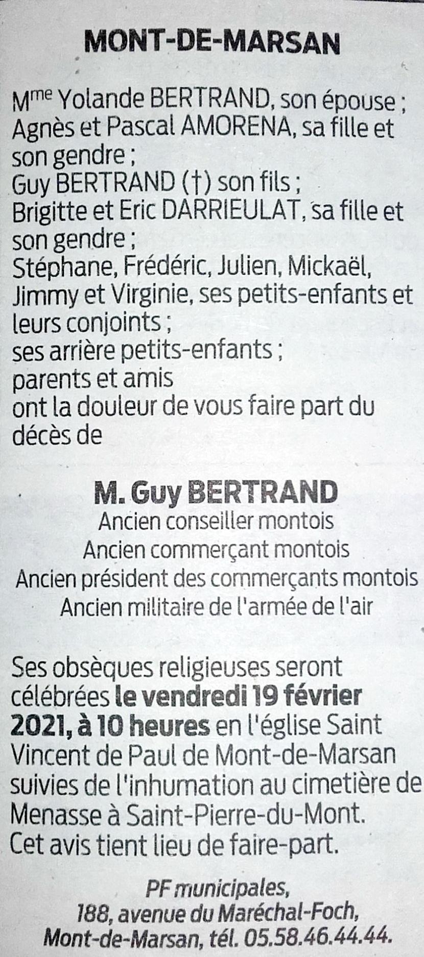Décès de Guy BERTRAND (P16) 1